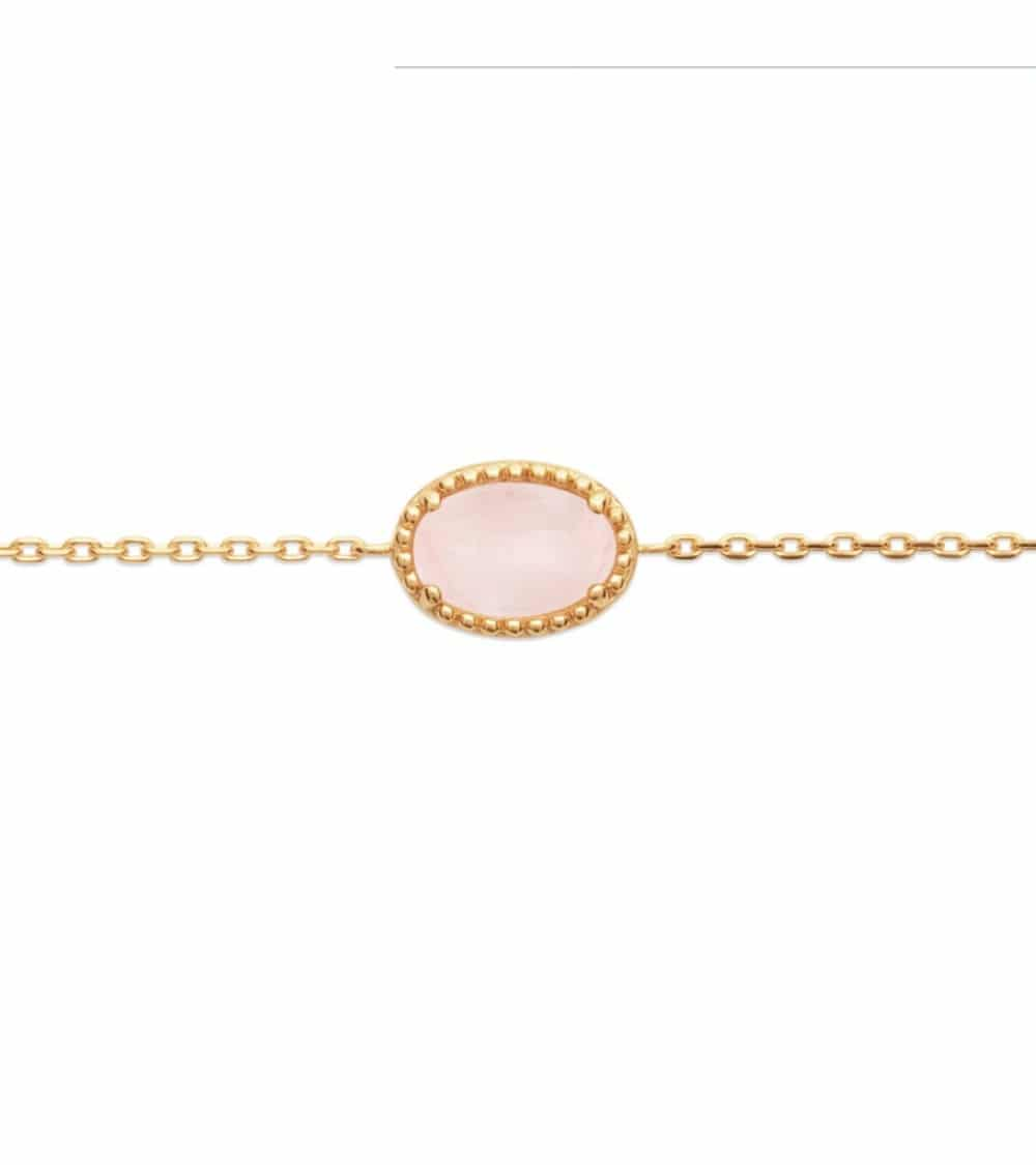 Collier en plaqué or avec un ovale en quartz, en longueur 45 cm réglable en 42 et 40 cm