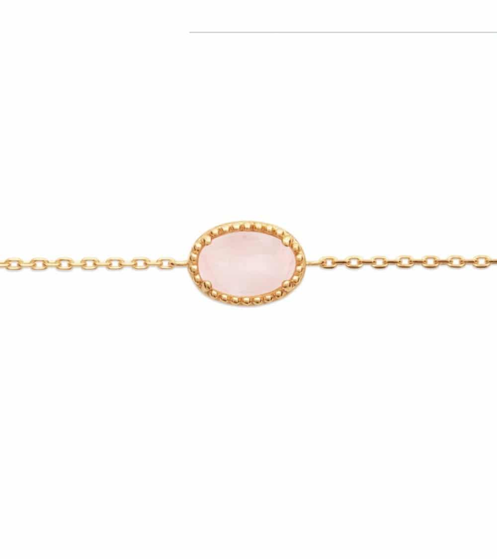 Bracelet en plaqué or avec un ovale en quartz, en longueur 18 cm réglable à 16 cm