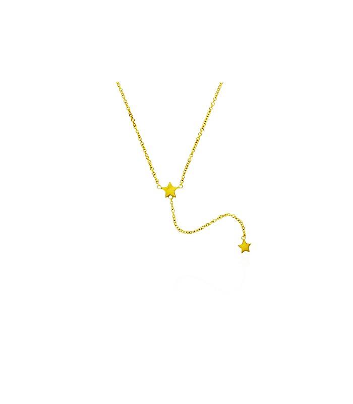 """Collier en Y en plaqué or avec motif """"étoiles"""", en longueur 43,5 cm + 3 cm ajustable"""