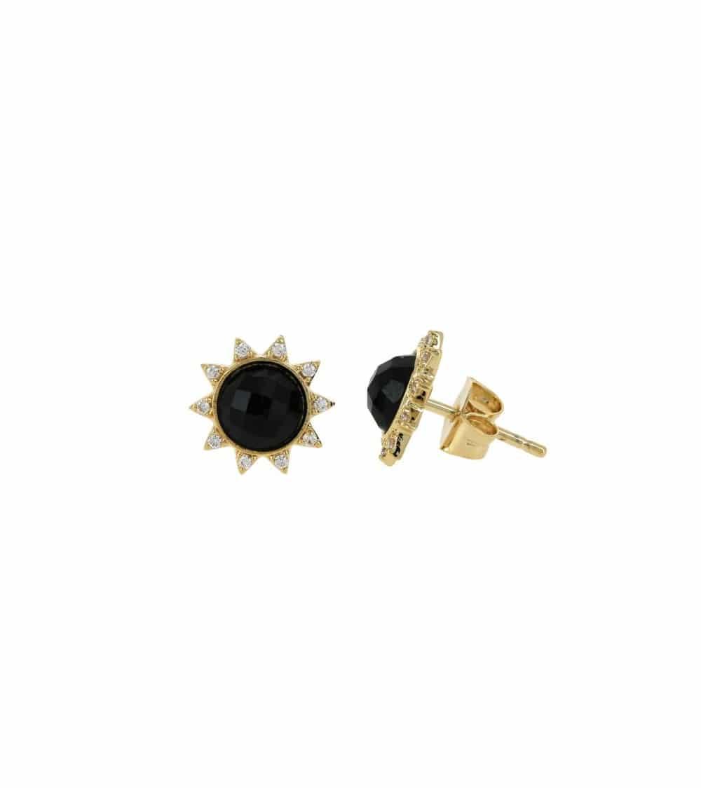 """Boucles d'oreilles """"soleil"""" en plaqué or, oxydes de zirconium et onyx, avec poussettes"""