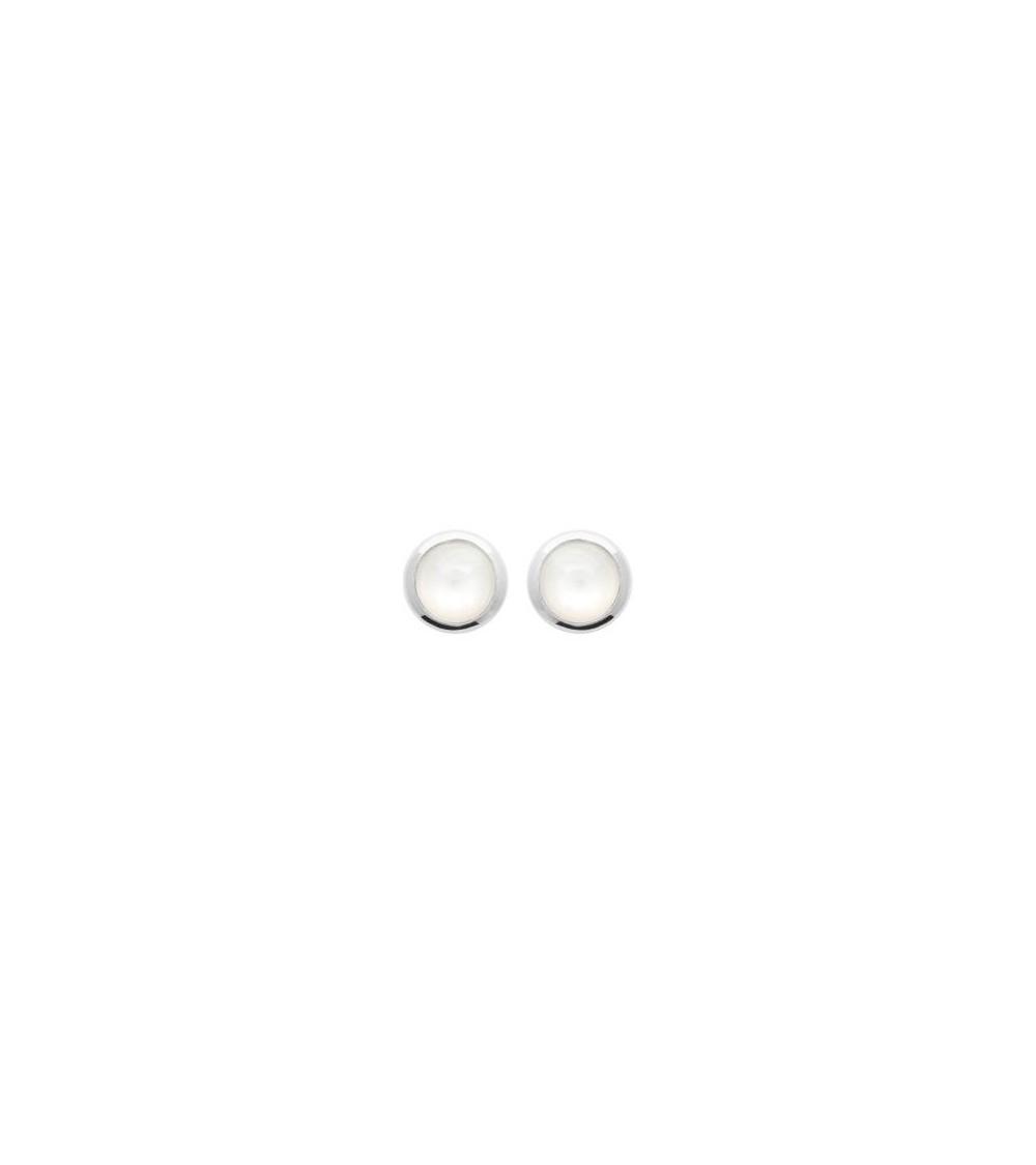 Boucles d'oreilles rondes en argent 925/1000 rhodié et pierre de lune, avec poussettes