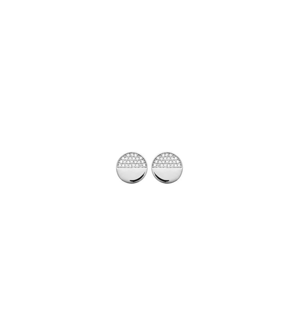 Boucles d'oreilles en argent 925/1000 rhodié, moitié lisses moitié serties d'oxydes de zirconium, avec poussettes