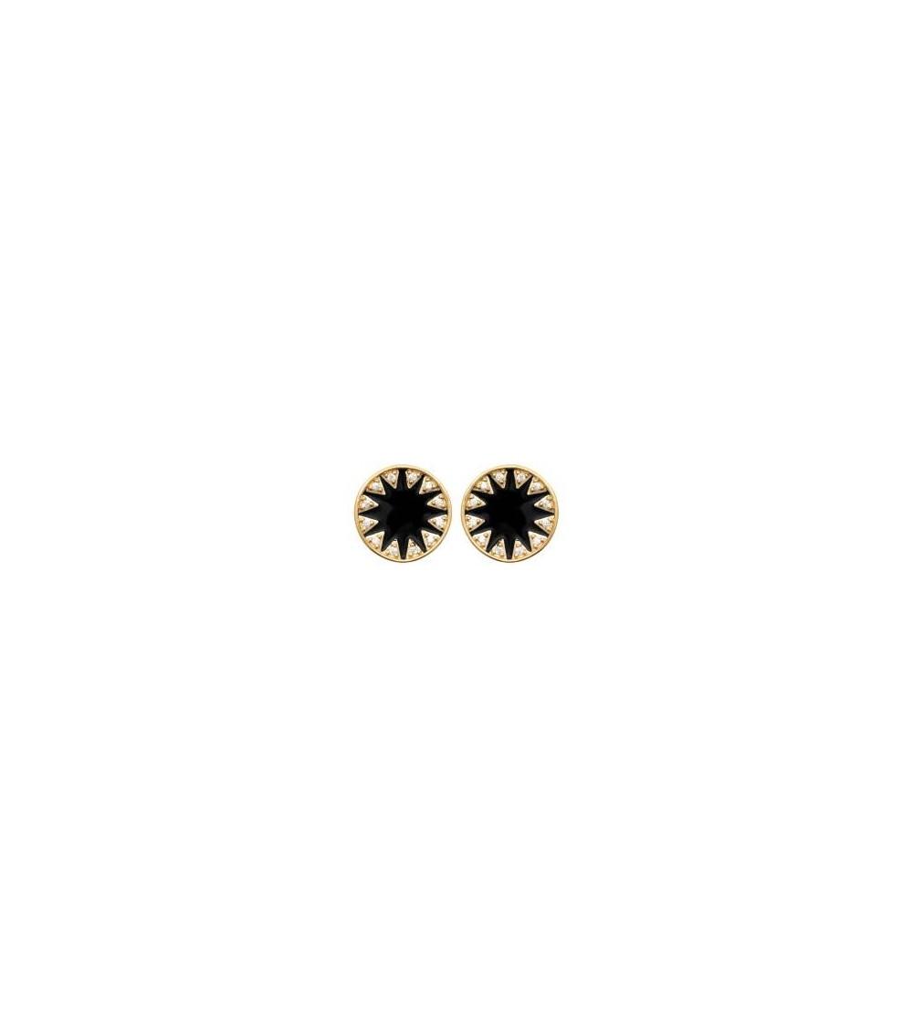 """Boucles d'oreilles """"soleil"""" en plaqué or, oxydes de zirconium et émail noir, avec poussettes"""