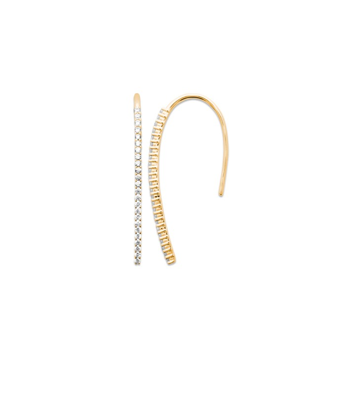 Boucles d'oreilles barre incurvée en plaqué or sertie d'oxydes de zirconium, à longs crochets