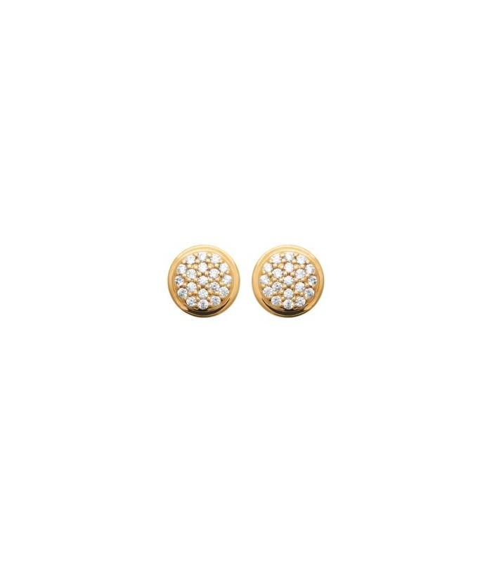Boucles d'oreilles rondes en plaqué or serties d'oxydes de zirconium, avec poussettes