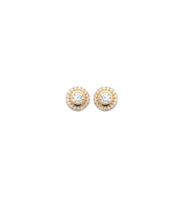 Boucles d'oreilles en plaqué or avec oxydes de zirconium dont 1 serti clos en son centre, avec poussettes