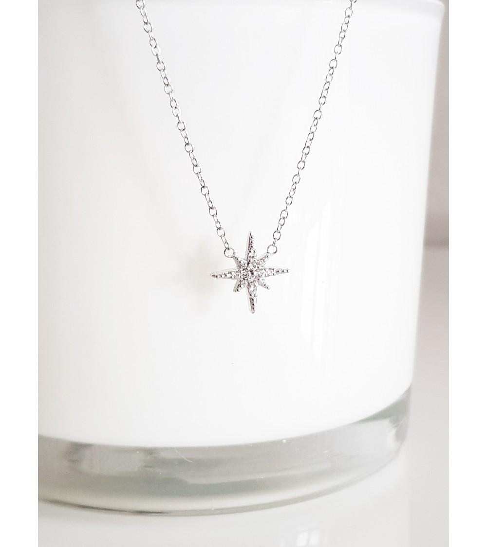 """Collier """"étoile"""" en argent 925/1000 rhodié et oxyde de zirconium (longueur 42 cm  + 3 cm)"""