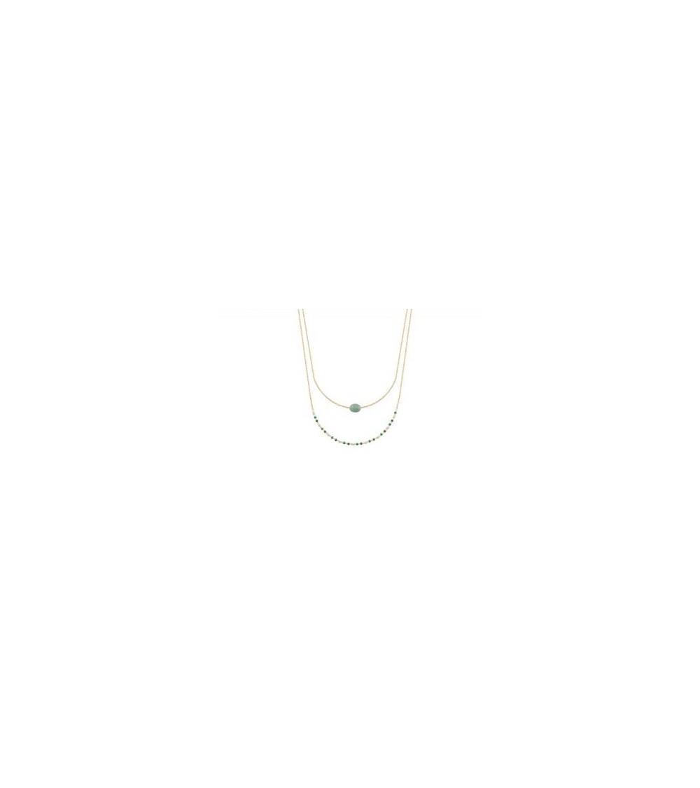 Collier double en plaqué or comportant une pierre aventurine et des perles de Miyuki (longueur 45 cm réglable à 40,5 cm)