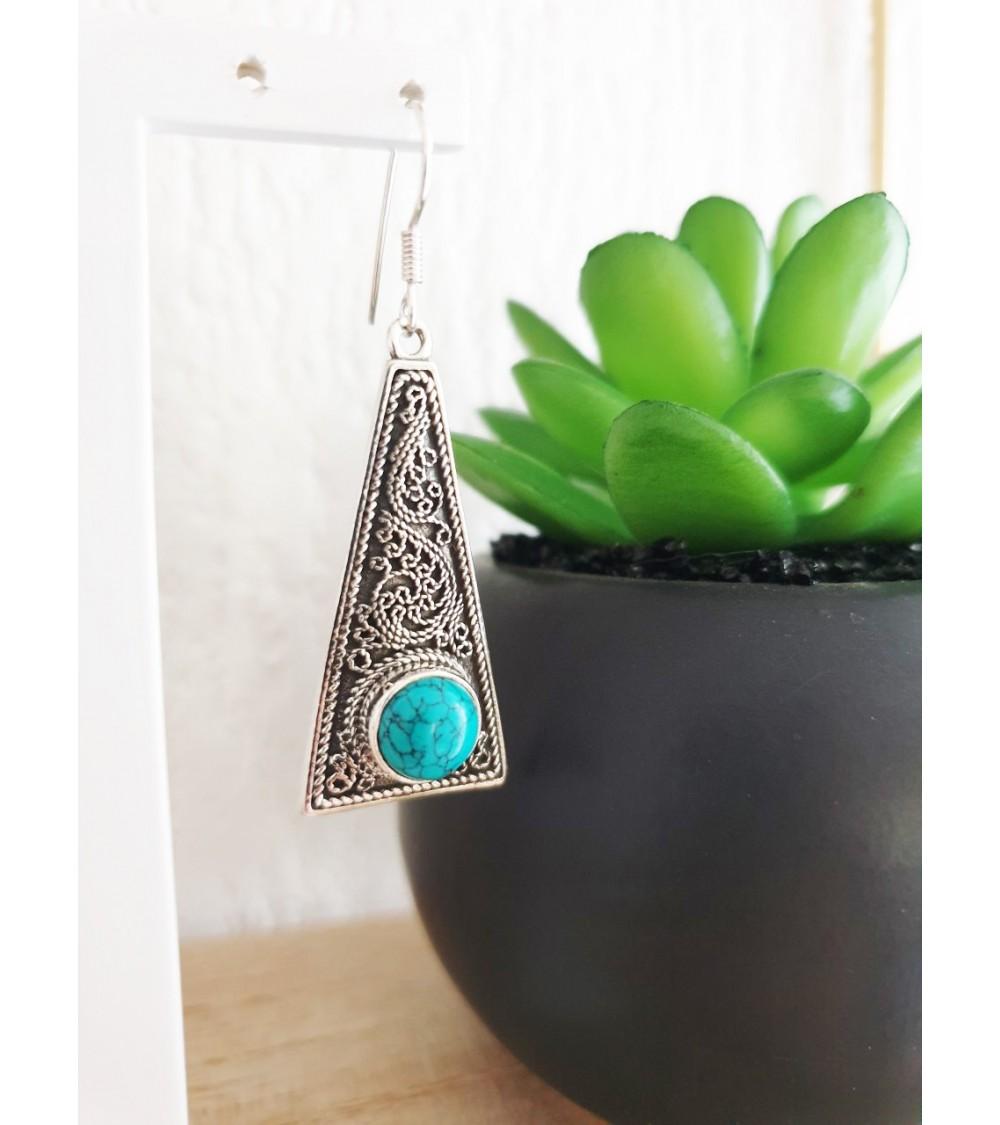 Boucles d'oreilles de style ethnique en argent 925/1000 et pierre turquoise, avec crochets