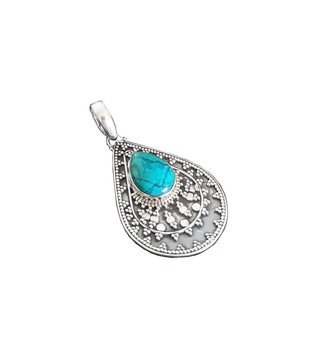 Pendentif en argent 925/1000ème ethnique avec une pierre turquoise + chaîne en argent 925/1000ème