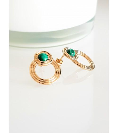 Boucles d'oreilles en plaqué or avec un anneau surmonté d'un autre comportant une pierre malachite, avec poussettes