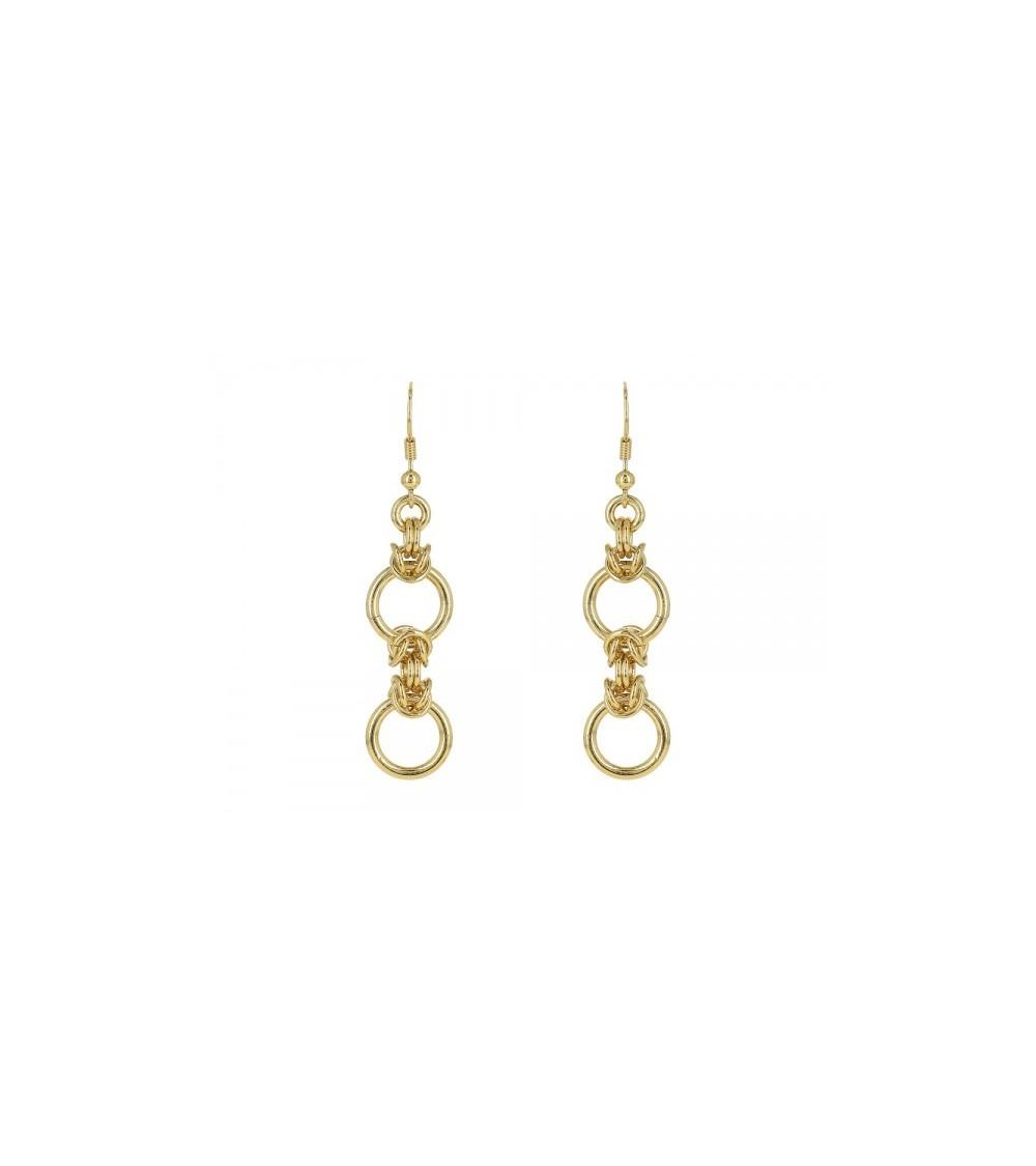 Boucles d'oreilles pendantes en plaqué or, avec crochets