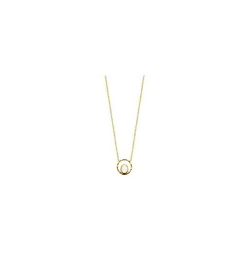 Collier en plaqué or avec en forme de goutte une pierre de lune (longueur 45 cm réglable en 42 et 40 cm)