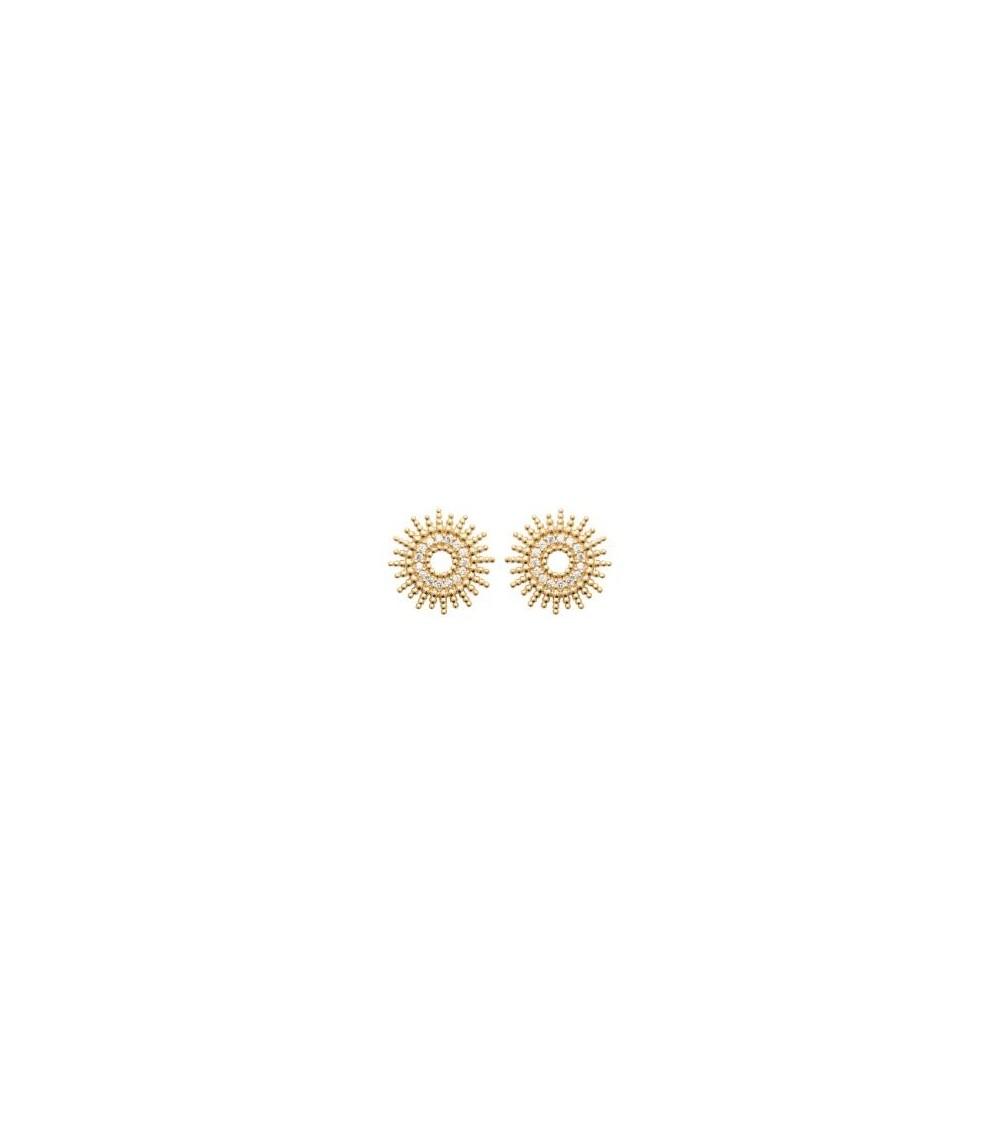"""Boucles d'oreilles """"soleil"""" en plaqué or serties au centre d'oxydes de zirconium, avec poussettes"""