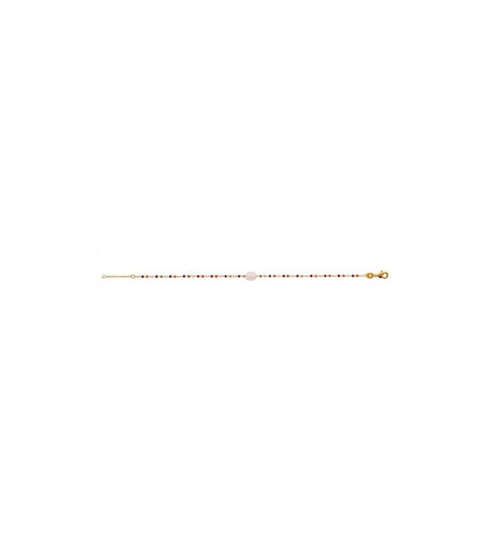 Bracelet en plaqué or avec une pierre ovale en quartz et le reste en perles de Miyuki (longueur 18 cm réglable à 16 cm)