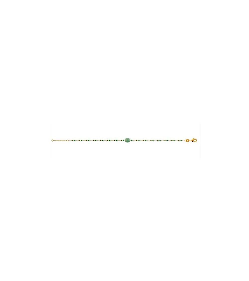 Bracelet en plaqué or avec une pierre ovale aventurine et perles de Miyuki, en longueur 18 cm réglable à 16 cm