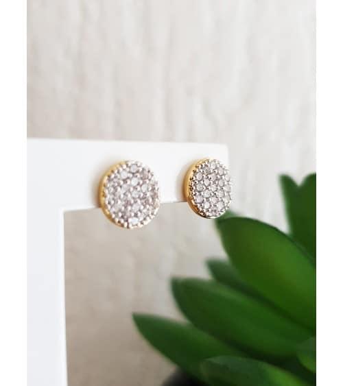 Boucles d'oreilles en plaqué or et oxydes de zirconium blancs micro sertis, avec puces