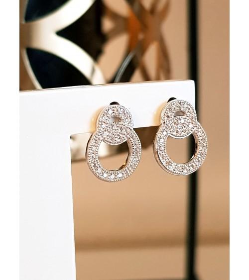Boucles d'oreilles double anneau en argent 925/1000 rhodié et oxydes de zirconium blancs microsertis, avec poussettes