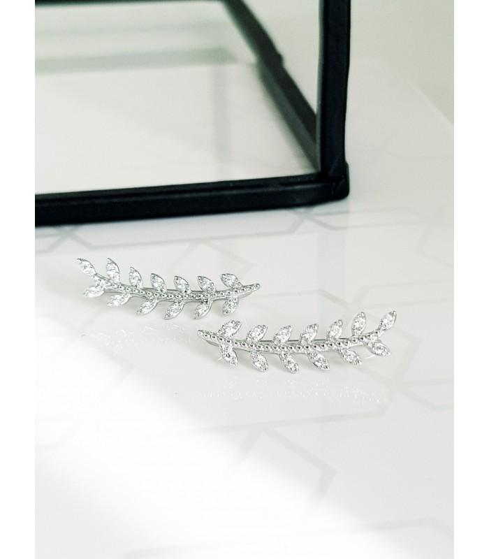 """Boucles d'oreilles """"contours d'oreilles"""" motif épi en argent 925/1000 rhodié et oxydes de zirconium blancs"""