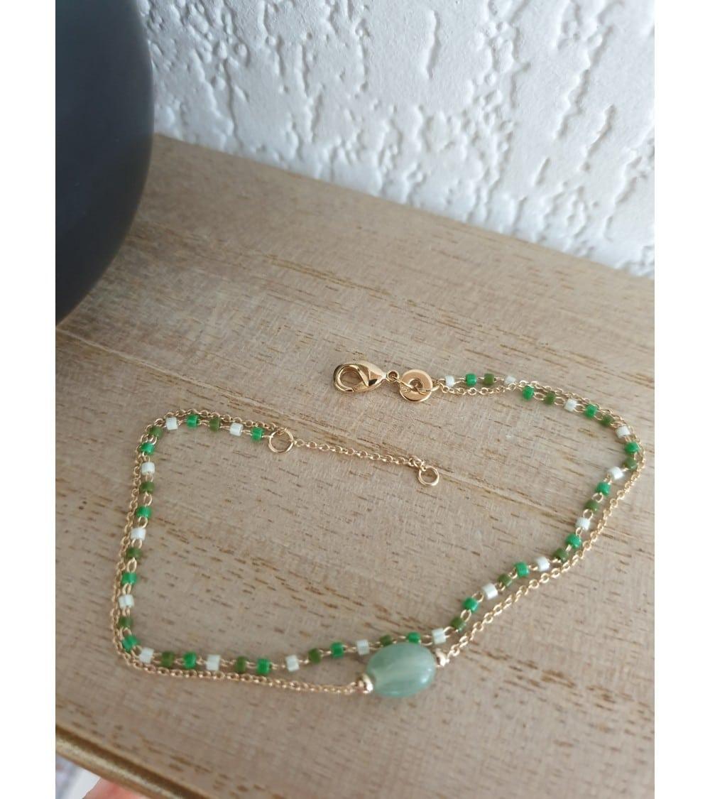 Bracelet double en plaqué or avec une aventurine ovale et un rang de perles de Miyuki (longueur 18 cm réglable à 16 cm)