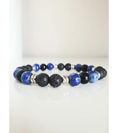 Bracelet en pierres naturelles lapis lazuli, onyx et lave ( boules de 10 mm), avec intercalaires en acier, monté sur élastique