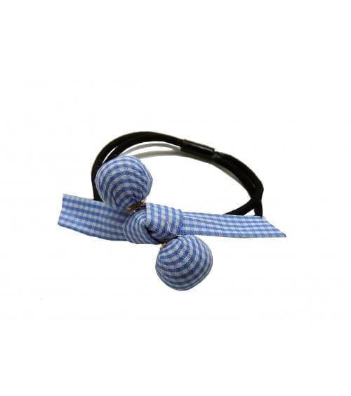 Chouchou élastique avec boule et nœud en tissu vichy bleu