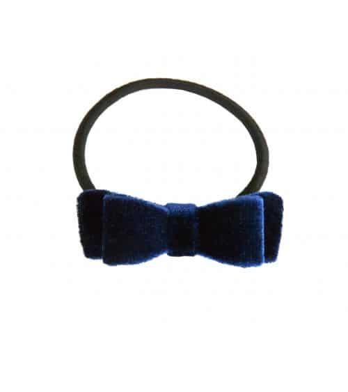 Chouchou élastique avec nœud en velours bleu marine