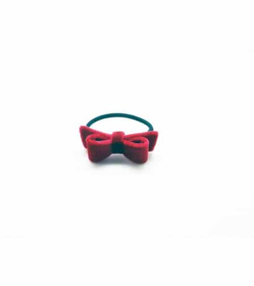 Chouchou élastique avec nœud en velours rouge