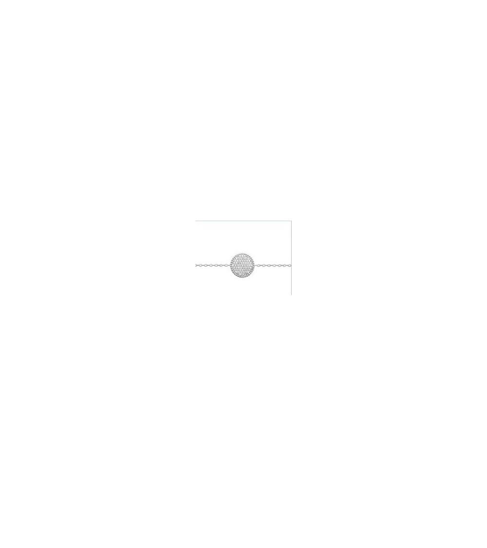 Collier en argent 925/1000 rhodié avec pastille sertie d'oxydes de zirconium (longueur 45 cm réglable à 42 et 40 cm)