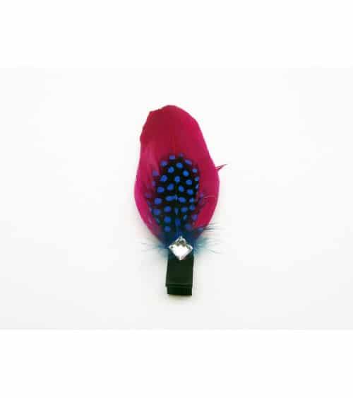 """Pince à cheveux """"plume"""" fuchsia et noir à pois bleu, avec un carré en strass"""