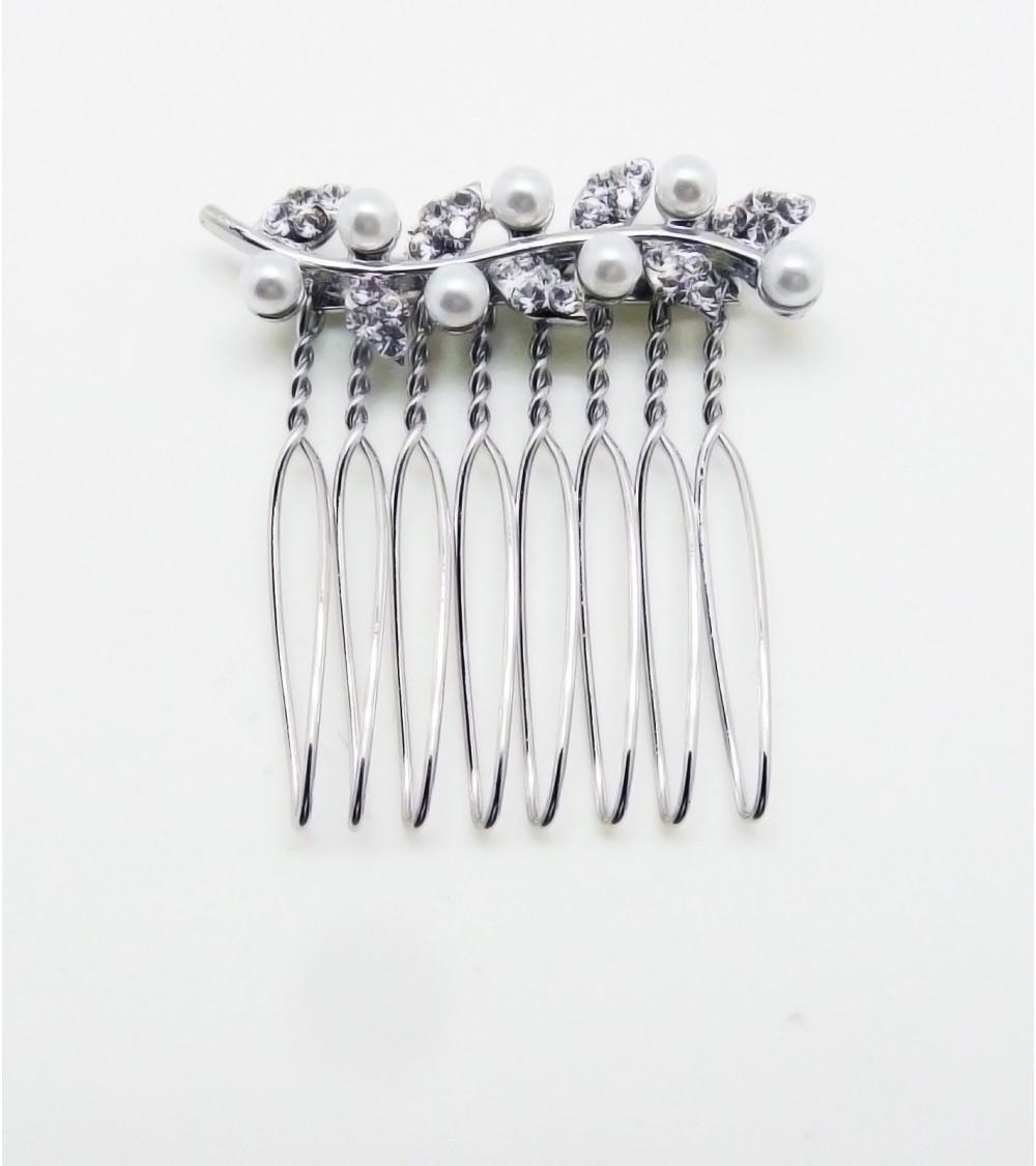 """Petit peigne à cheveux """"feuille"""" en métal argenté avec strass et perles synthétiques"""