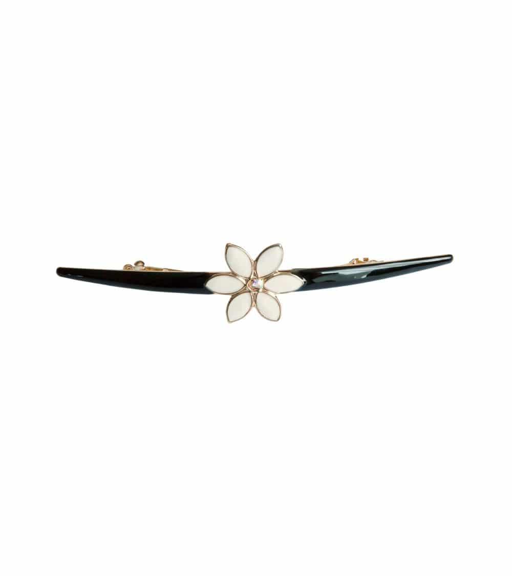 Barrette à cheveux en métal doré avec émail noir, agrémentée d'une fleur en émail ivoire et strass