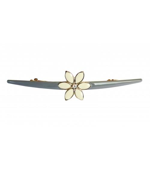 Barrette à cheveux en métal doré avec émail gris, agrémenté d'une fleur en émail ivoire et strass (longueur 12 cm)