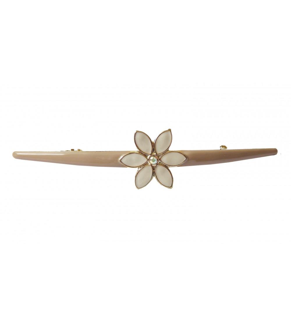 Barrette à cheveux en métal doré avec émail beige agrémenté d'une fleur en émail ivoire et strass (longueur 12 cm)