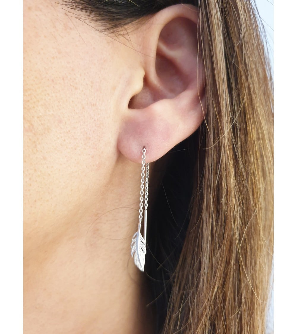 """Boucles d'oreilles """"traversantes"""" en argent 925/1000 rhodié, motif """"plume"""""""