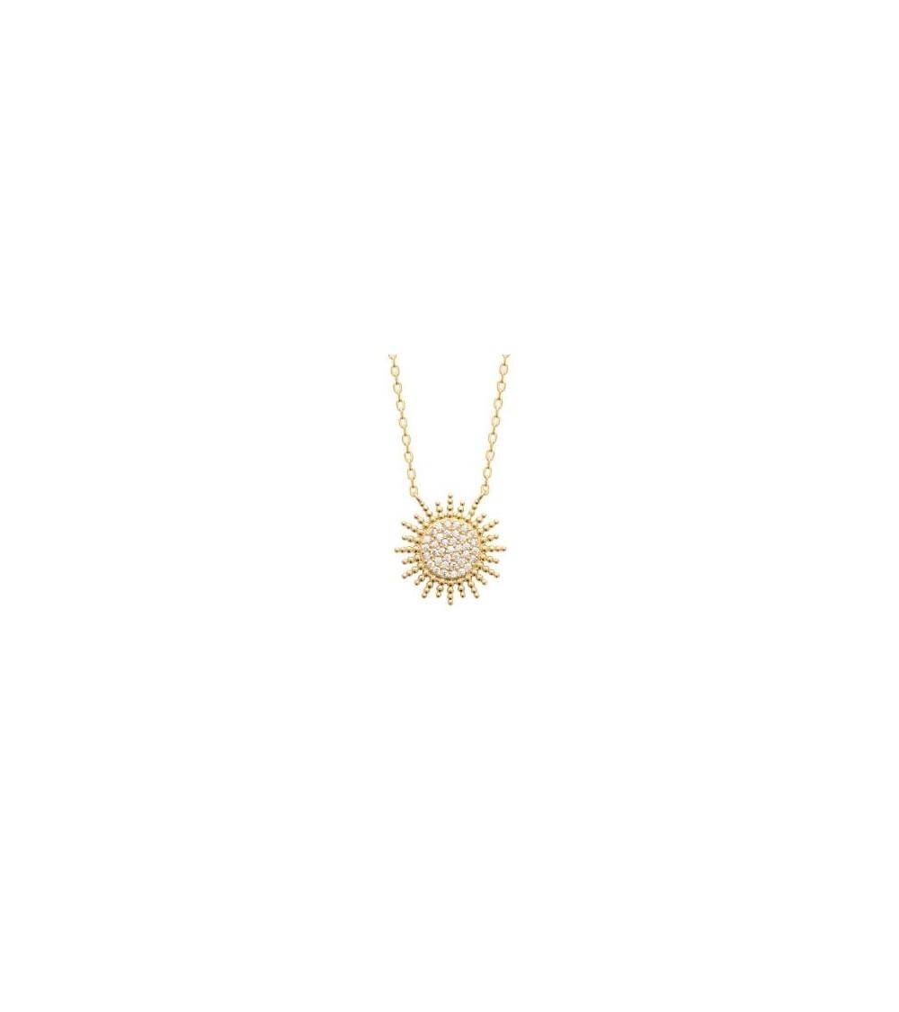"""Collier """"soleil"""" en plaqué or serti d'oxydes de zirconium (longueur 45 cm réglable à 42 et 40 cm)"""