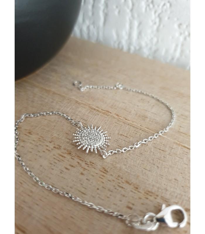 """Bracelet """"soleil"""" en argent 925/1000 rhodié et oxydes de zirconium, en longueur 18 cm réglable à 16 cm"""