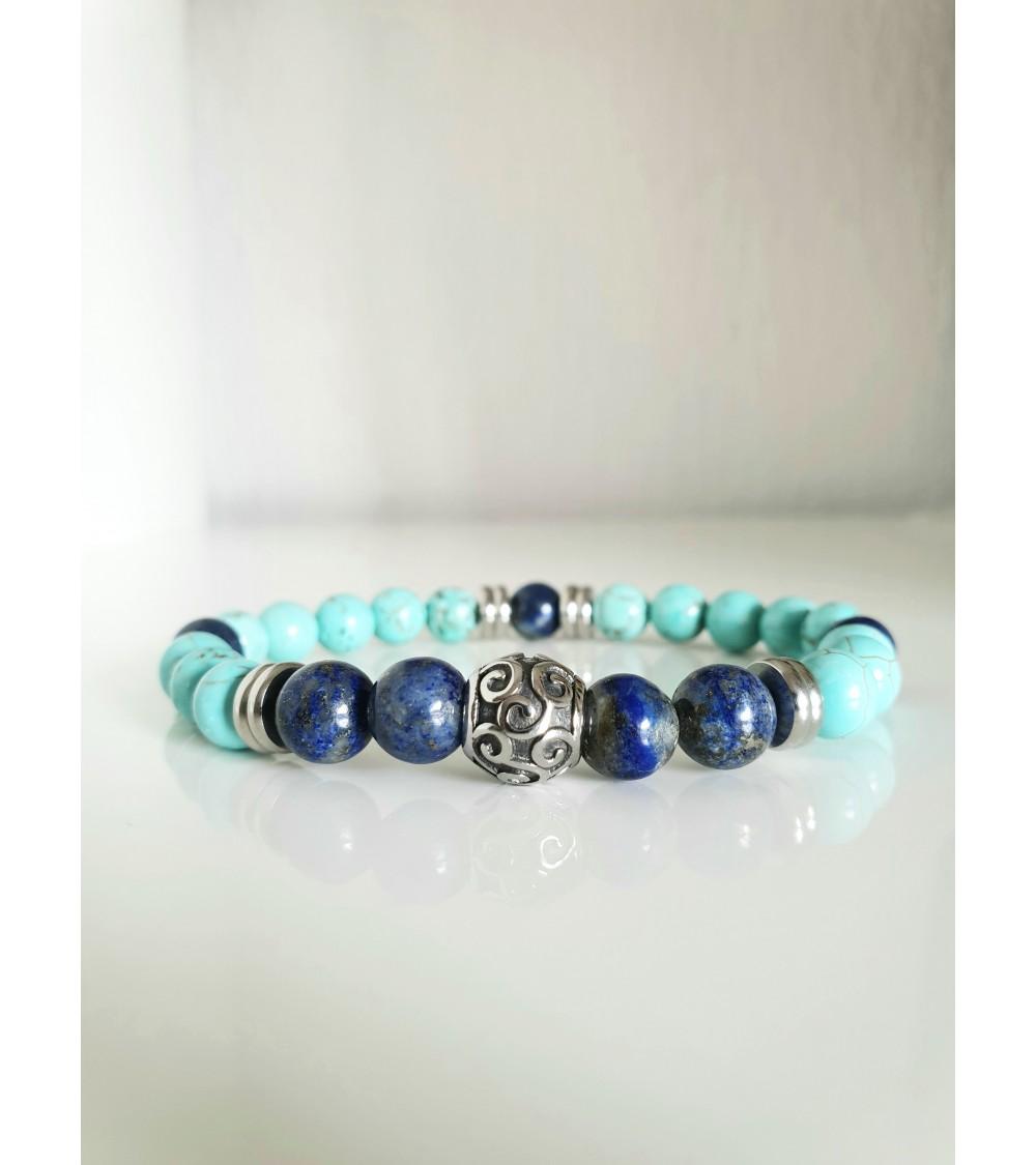 Bracelet en pierres lapis lazuli et jaspe bleu (boules 10 mm), avec intercalaires en acier,monté sur élastique