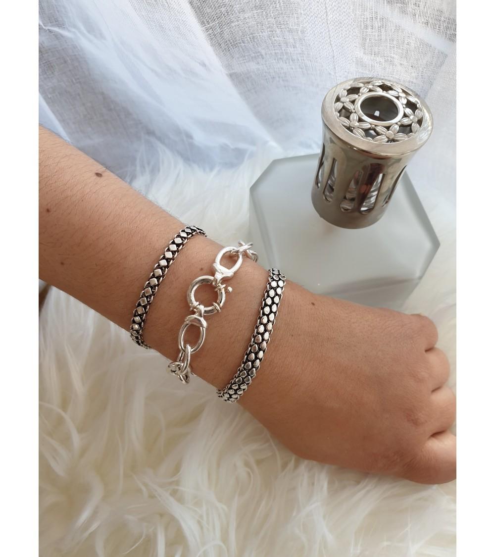 Bracelet de style ethnique en argent 925/1000, en longueur 18 cm