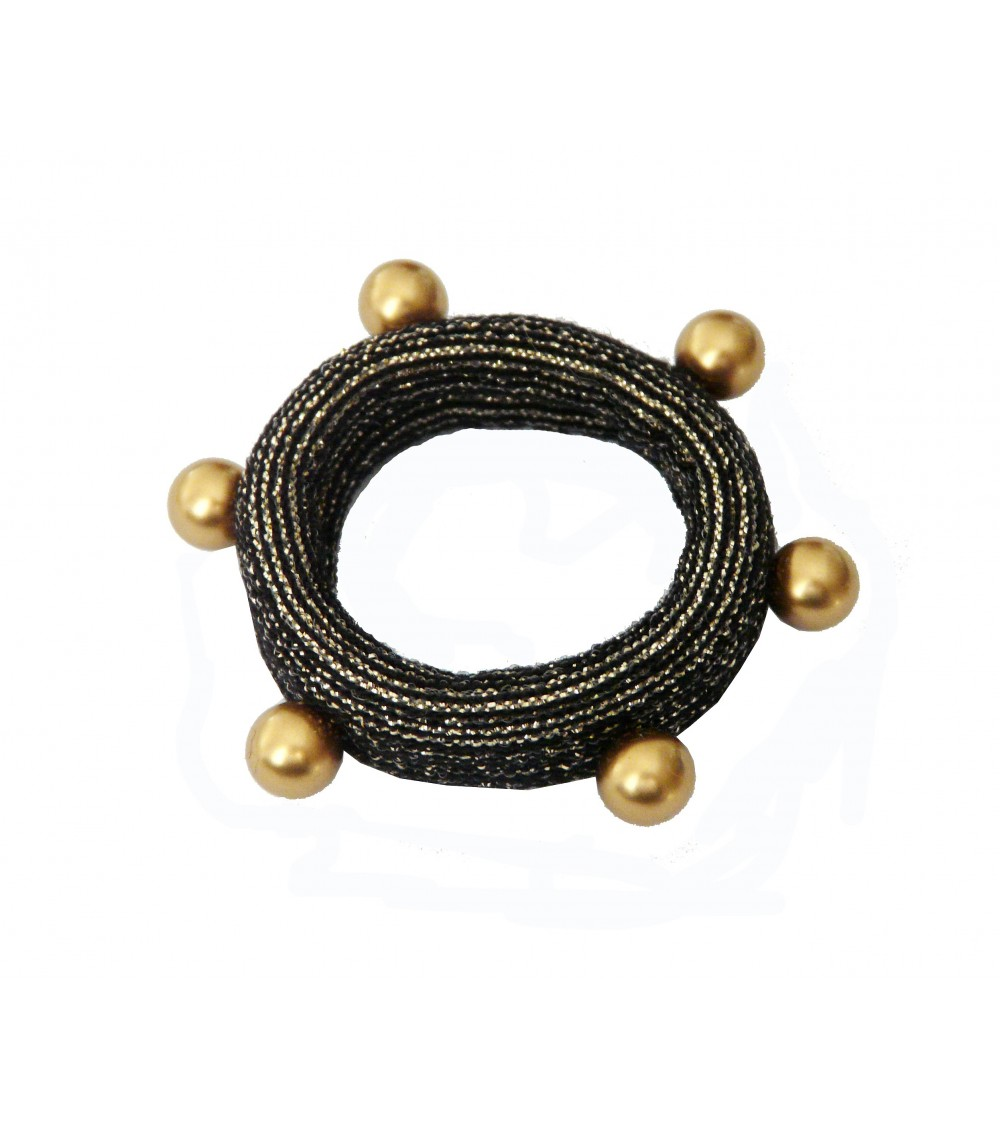 Chouchou en tissu élastique noir à liseré pailleté doré agrémenté d'imitation perles dorées cloutées