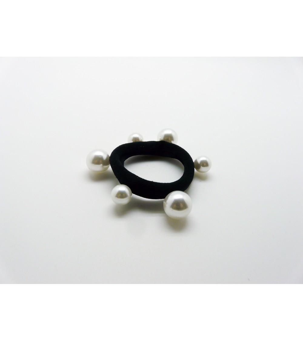 Chouchou élastique avec petites perles et grosses perles blanches ( 8mm et 12 mm)