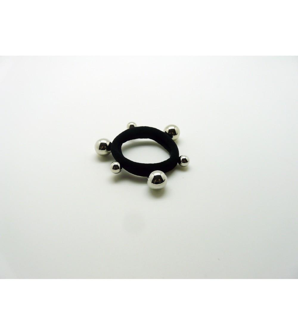 Chouchou élastique avec petites perles et grosses perles synthétiques argentées ( 8mm et 12 mm)