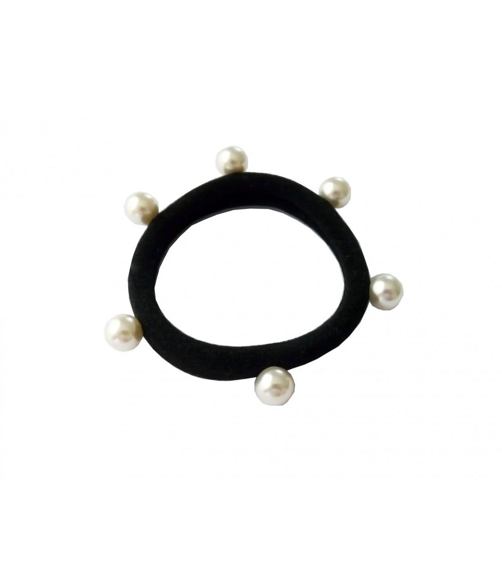 Chouchou élastique avec petites perles synthétiques blanches cloutées (6 mm)