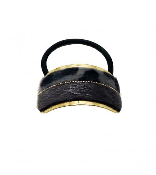 """Chouchou élastique avec rectangle (6,5 cm/3 cm) en métal doré recouvert de fourrure synthétique mi uni gris mi """"léopard gris"""""""