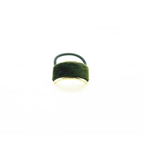 Chouchou élastique avec rectangle (6 cm sur 2 m) en métal doré recouvert de fourrure synthétique vert foncé
