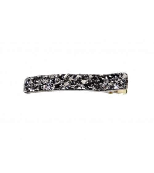 """Pince à cheveux """"croco"""" en métal argenté recouvert de paillettes argentées et noires (6cm)"""