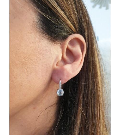 Boucles d'oreilles en argent 925/1000 rhodié, avec pierre de synthèse bleue et oxydes de zirconium, fermeture dormeuse