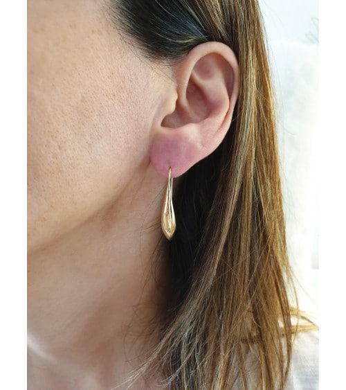 """Boucles d'oreilles """"goutte d'eau"""" en plaqué or avec longs crochets"""