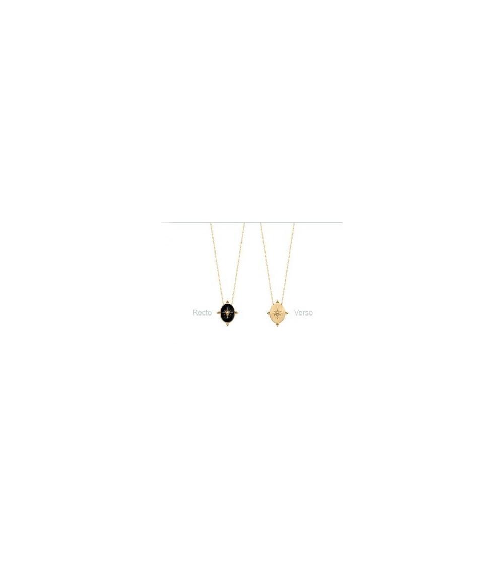 Collier en plaqué or avec un ovale en émail noir étoilé, réversible en plaqué or (longueur 45 cm réglable à 42 et 40 cm)