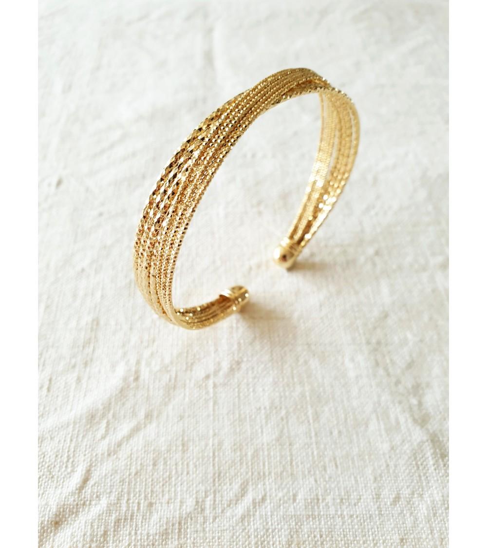 Bracelet ouvert croisé en plaqué or, diamètre 61 cm